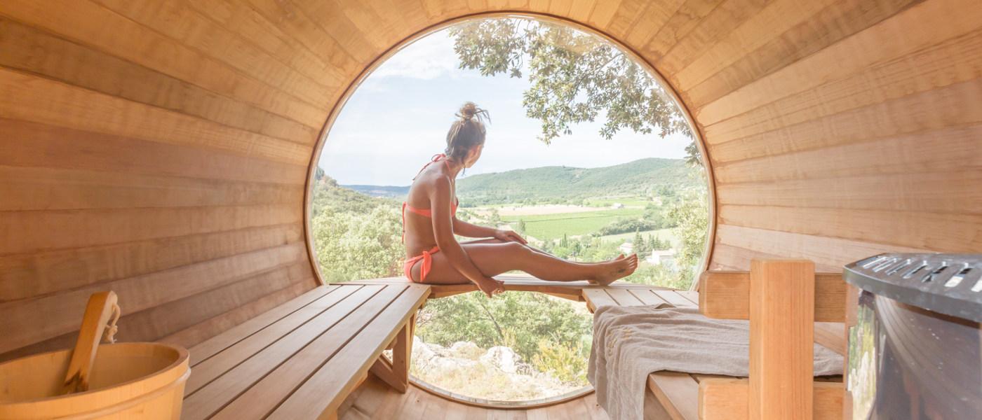 Domaine de Sevenier Barrell Sauna View