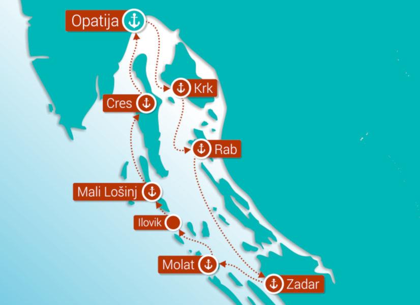 Firefly Holidays Croatia Cruises Route KL1 600h
