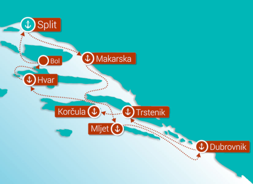 Firefly Holidays Dalmatian Islands Cruises Route
