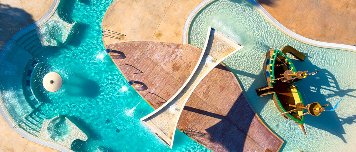 Cypsela Resort Pools Aerial